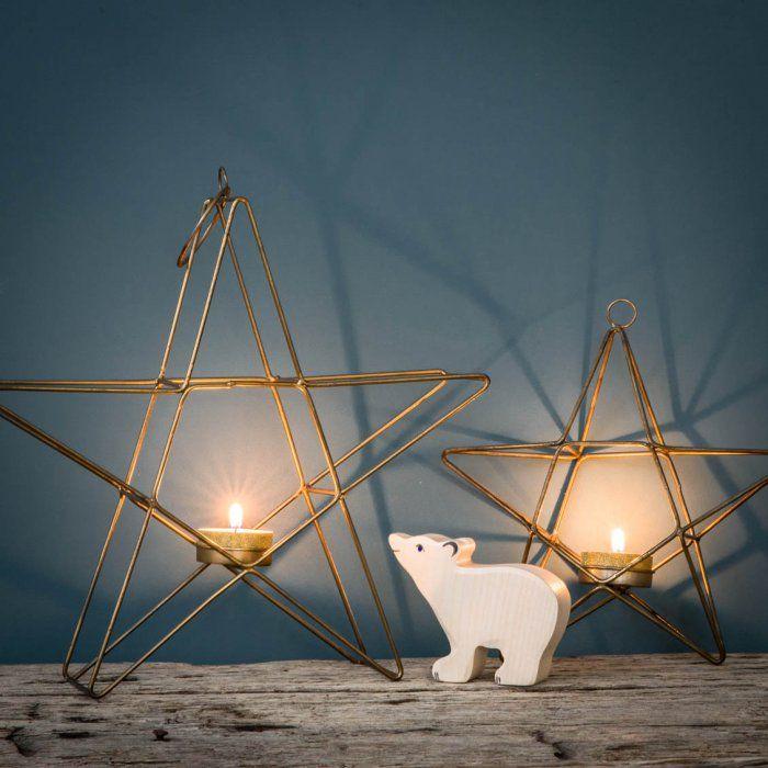 Bougeoirs étoile en métal doré Gold candle holder - Christmas