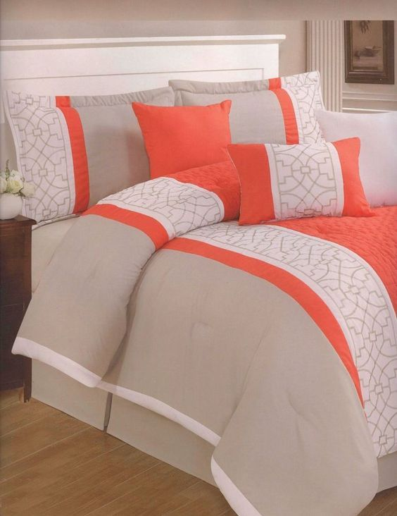 7 Piezas bordado moderno edredón Queen Bed-in-a-Bag naranja, blanco, gris pardo #BedInABag: