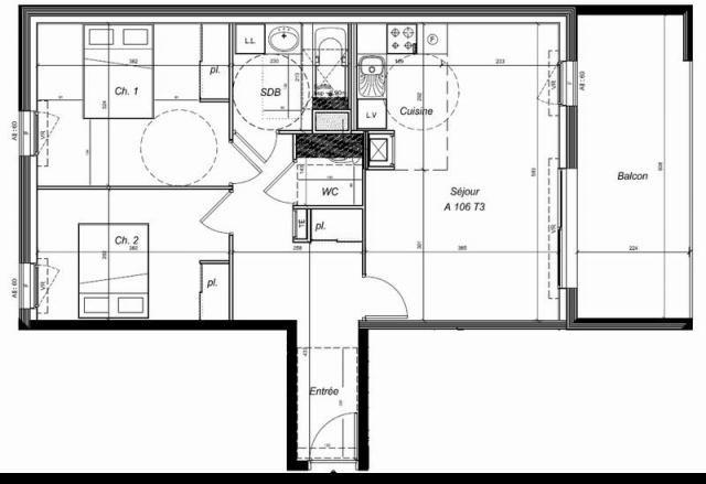 appartement 3 pieces 62 m2 CARNAC Centre ville  Beau 3 pieces expose Est, idealement situe pour votre residence principale, beneficiez du PTZ actuellement en vigueur. Emplacement de parking en sous-sol. Chauffage gaz de ville, logement BBC. Livraison debut 2017.