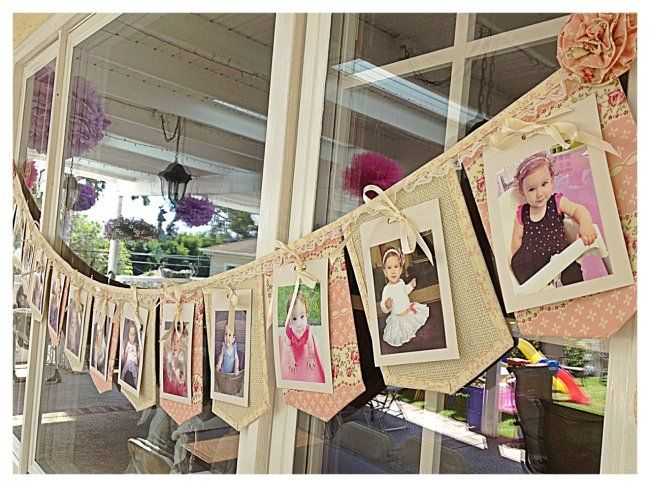 Use old baby pictures to make a banner for a shower, or as decor in a kids' room? Love. #BabyCenterBlog