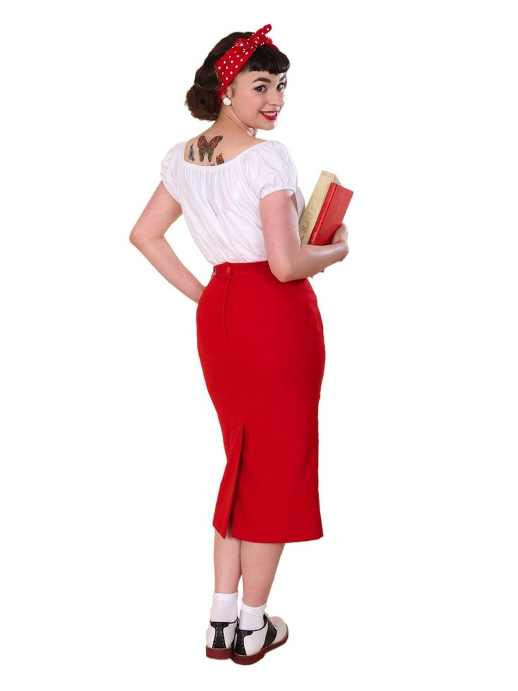 Pencil Skirt Red Flannel