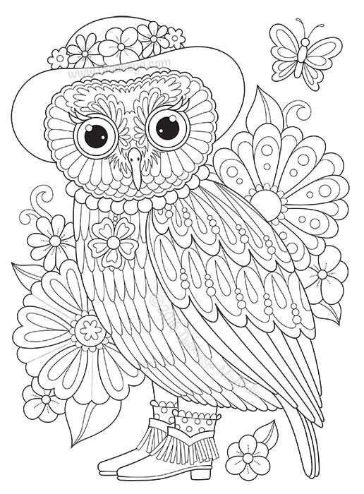 groovy owls coloring book by thaneeya mcardle features 32 coloring pages of delightful whimsmical owls plus tutorials and colored examples