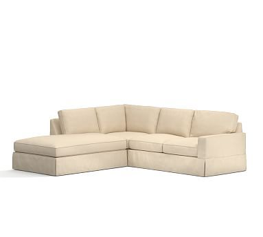 PB Comfort Square Arm Right 3 Piece Bumper Sectional Slipcover, Box Edge,  Performance