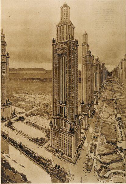 Historical Designs / Utopias / Monuments - Never built - SkyscraperCity Paris, by Perret (1922-1932)