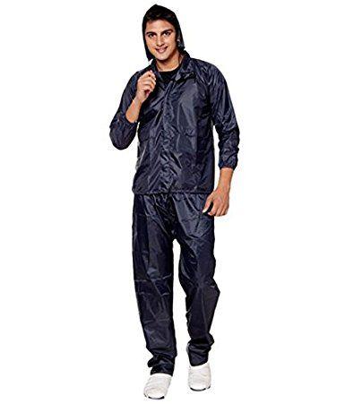 Krystle Navy Blue Solid Men's Raincoat #Raincoat