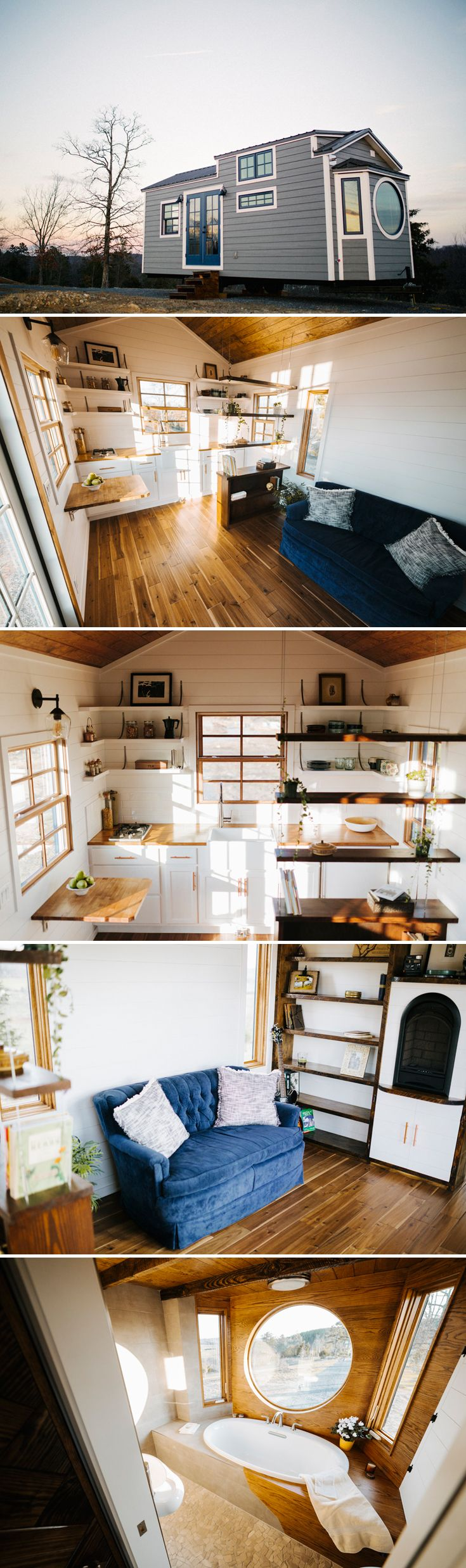 This 24' tiny home is 10' wide to accommodate a bed on the main level and a full size soaking tub with a tile/wood surround and large monocle window.