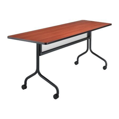 "Safco Products Impromptu Rectangle Mobile Training Table, 72 by 24-Inch, Cherry Top with Black Base by Safco. $277.77. Tables are 29"" high. For training sessions or conference meetings. 1"" Thick high pressure laminate top and durable vinyl edge band. Top folds down easily for nesting and storage. 1 1/4"" Tubular steel base. Thrive on impulse. Impromptu Mobile Training Tables work together to create unique combinations for training sessions or conference meetings. All t..."