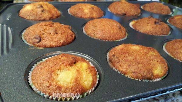 Banana, pineapple, craisin, chocolate chip, apple and flax muffins or banana bread loaf - low fat, high fibre and delish recipe! Can be made GF too!