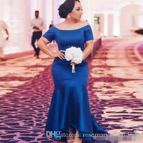 Royal Blue Plus Size Bridesmaid Dresses 2018 Satin Short Sleeves Mermaid Maid Of Honor Gowns High Low Wedding Guest Prom Party Dress Bridesmaid Dresses Long Bridesmaid Gowns Wedding Guest Dress Online with $101.38/Piece on Rosemarybridaldress's Store | DHgate.com