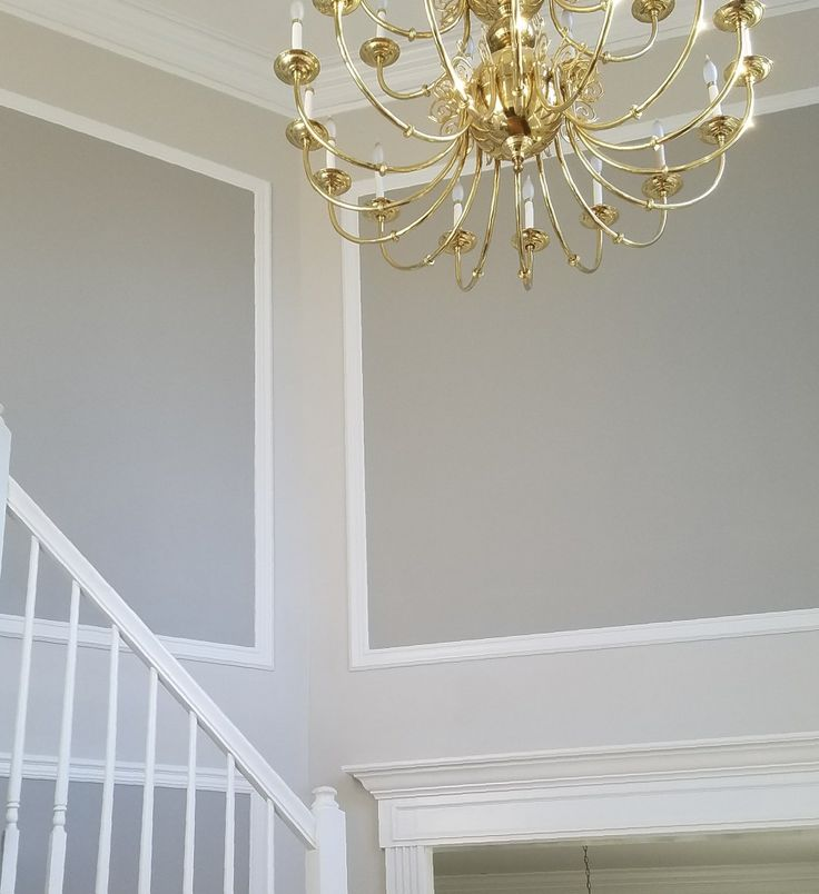 Accent Wall With Balboa Mist: Foyer Painted In Benjamin Moore Balboa Mist With Himalayan