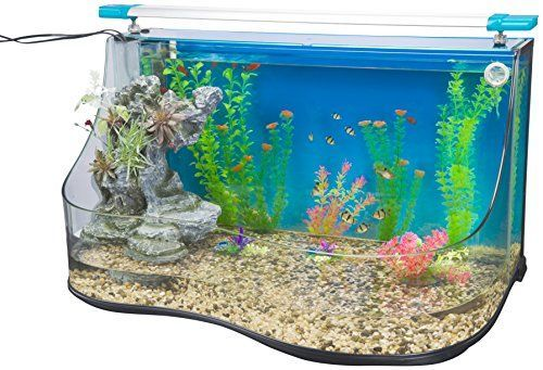 Penn Plax Aqua Terrium Aquarium Water Pool - Two Large Habitats With Cascading Waterfall and Filter Curved Glass Design 9.0 Gallon *** Learn more by visiting the image link.