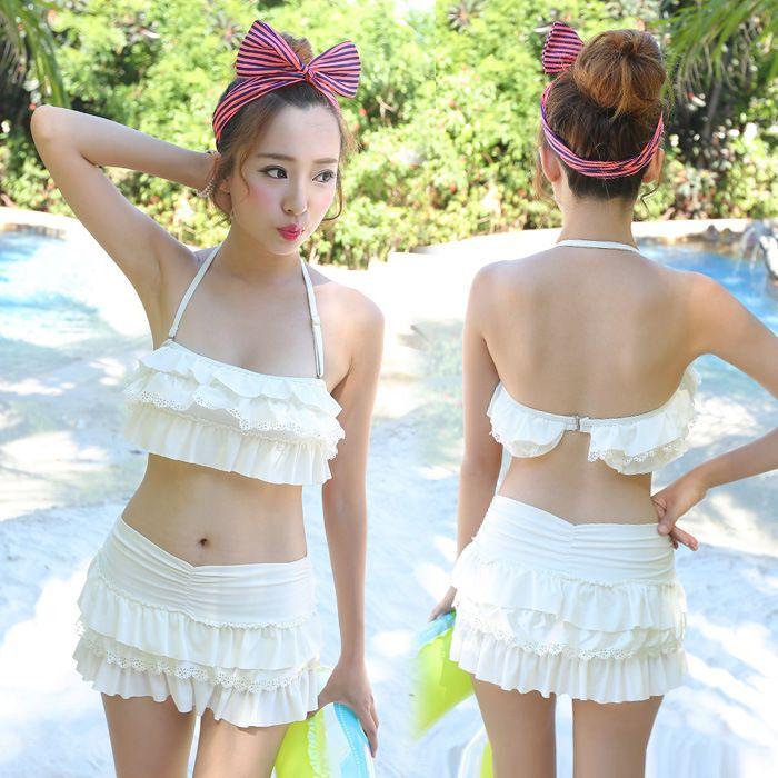 2015 бандо бикини мягкий strappy белый бикини купальник с оборками симпатичные юбка бикини набор чики симпатичные купальные костюмы