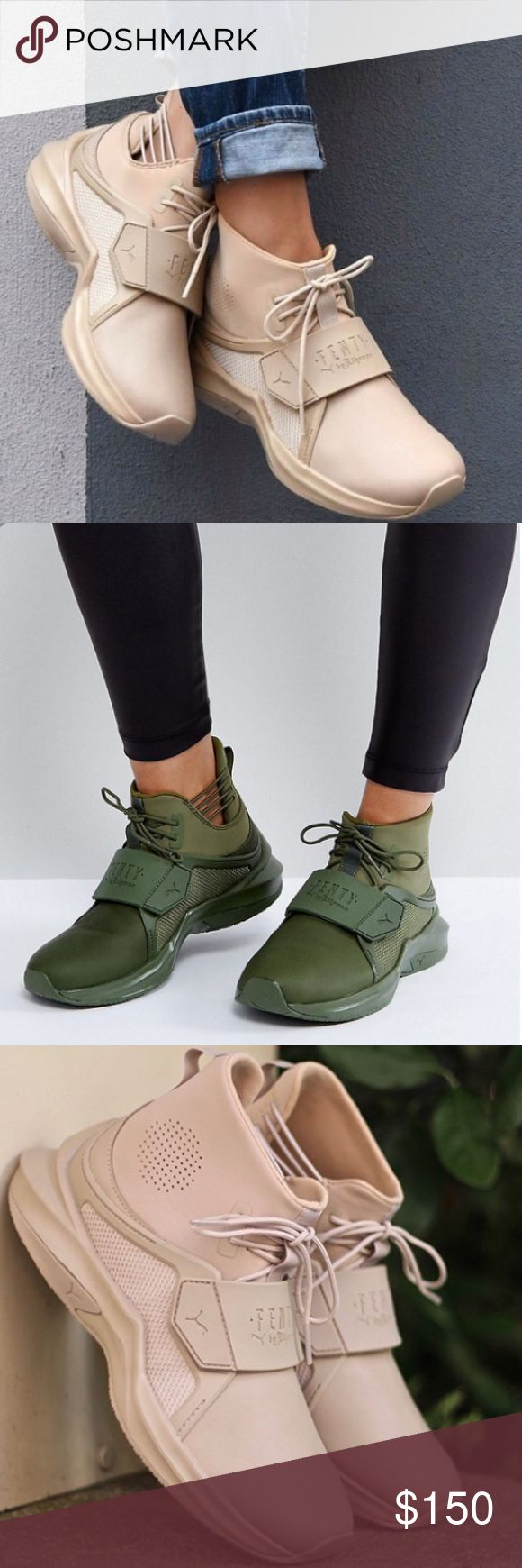 Fenty NEW WITH OUT TAGS! Fenty Hi trainer by  Rihanna ! Super fashion ! This listing is for the tan color  ! Available in tan and green color. New! Shoes Sneakers