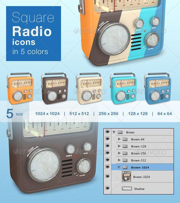 Square Radio Icons