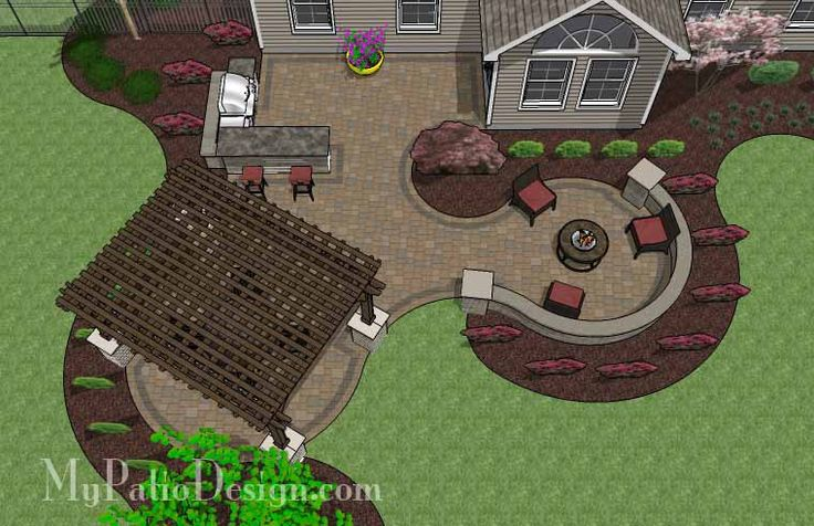 690 sq. ft. of Outdoor Living Space. Curvy Design Creates Beautiful Areas for Outdoor Dining, Grilling and Fire Pit with Seating. 12' x 16' Ce
