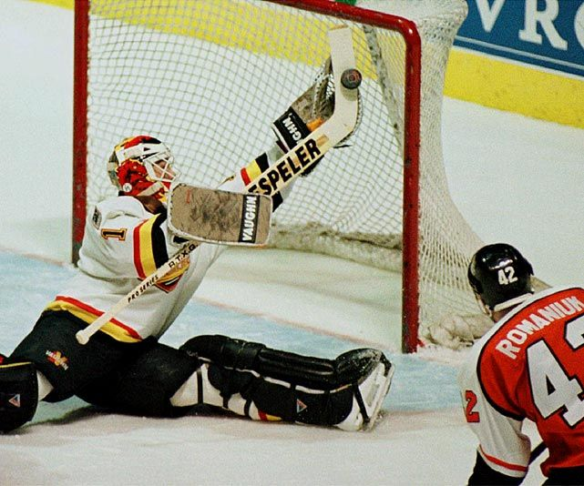 Vancouver #Canucks goalie Kirk McLean makes a great save with his stick.