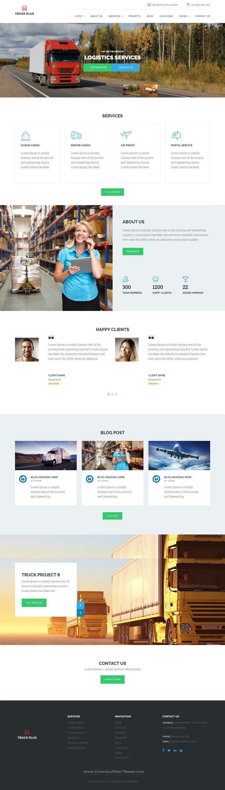 Truck Plus is a customized and responsive standard Wordpress Theme well structured and beautiful WP theme which is specifically designed for #Transportation and #Logistics Service #website