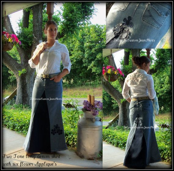 Custom Order two tone Long jean skirt with added flower detail to your size made on order by DelarosaCustomJeanSkirts