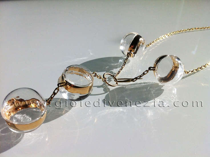 """Murano"" 4 Blown Glass Pearl Necklace  Each pearl is a guarantee of uniqueness and originality. Blow glass creation has been handmade by master craftsmen."