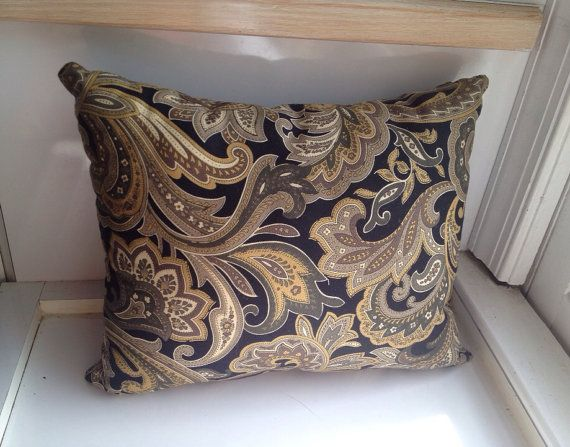 Black And Beige Decorative Pillows : Black Decorative Throw Pillow, Paisley, 100% Combed Cotton, Home Decor, Soft Shades of Brown ...
