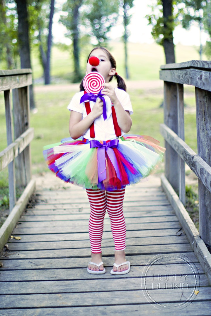 RAINBOW CLOWN COSTUME--Custom Made Hand-Tied Ribbon Tutu Skirt with Red Nose and Lollipop Prop, sizes Newborn-5T
