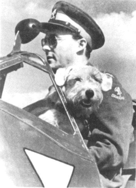 1944 Prins Bernhard_spitfire met zijn hondje Martin  een Sealyham terriër