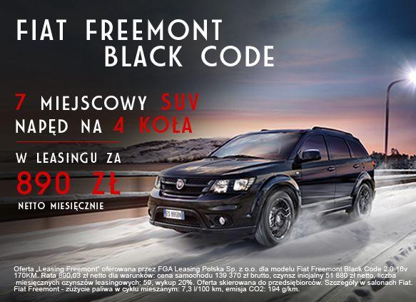 Męski charakter wersji Black Code! Sprawdź wyjątkową ofertę na Fiata Freemont na www.fiat.pl/pl/freemont/black-code.
