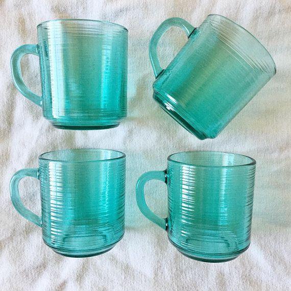 Vintage Luminarc Glass Coffee Mugs // Arcoroc Jardiniere Teal