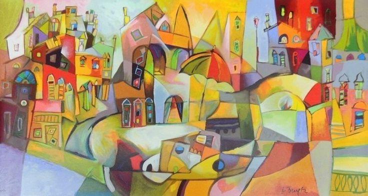 BENGEZ MILJENKO - PAESE SUL LAGO - serigrafia su tela - 70 x 130 cm