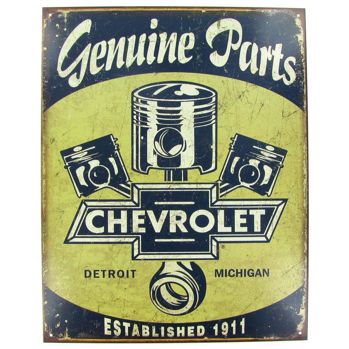 "This Chevy Parts & Pistons Tin Sign is perfect to enhance the decor of any car enthusiast's home, office or man cave. It measures about 12 1/2"" wide x 16 1/2"" tall and hangs from holes placed in each"