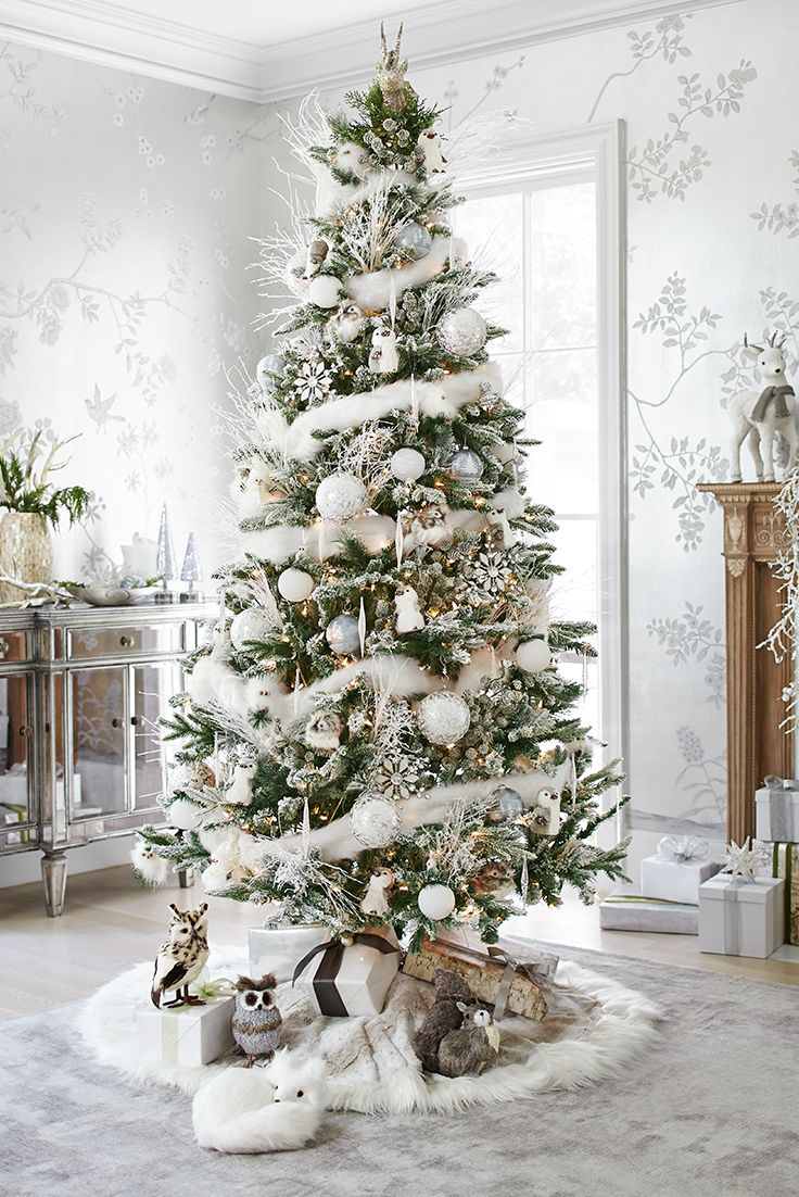How to decorate a christmas tree with ornaments - An Indoor Winter Wonderland Frosted Noel Christmas Tree Branches Sparkle With A Touch Of Frost A Reindeer Tree Topper Provides A Personal Touch
