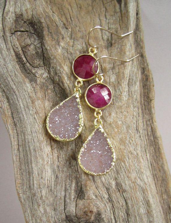 FLASH SALE 40% Druzy Earrings Ruby Earrings by julianneblumlo