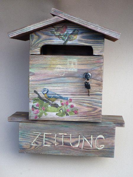 Briefkästen - VINTAGER BRIEFKASTEN AUS HOLZ in Shabby Chic Lock - ein Designerstück von kostan bei DaWanda