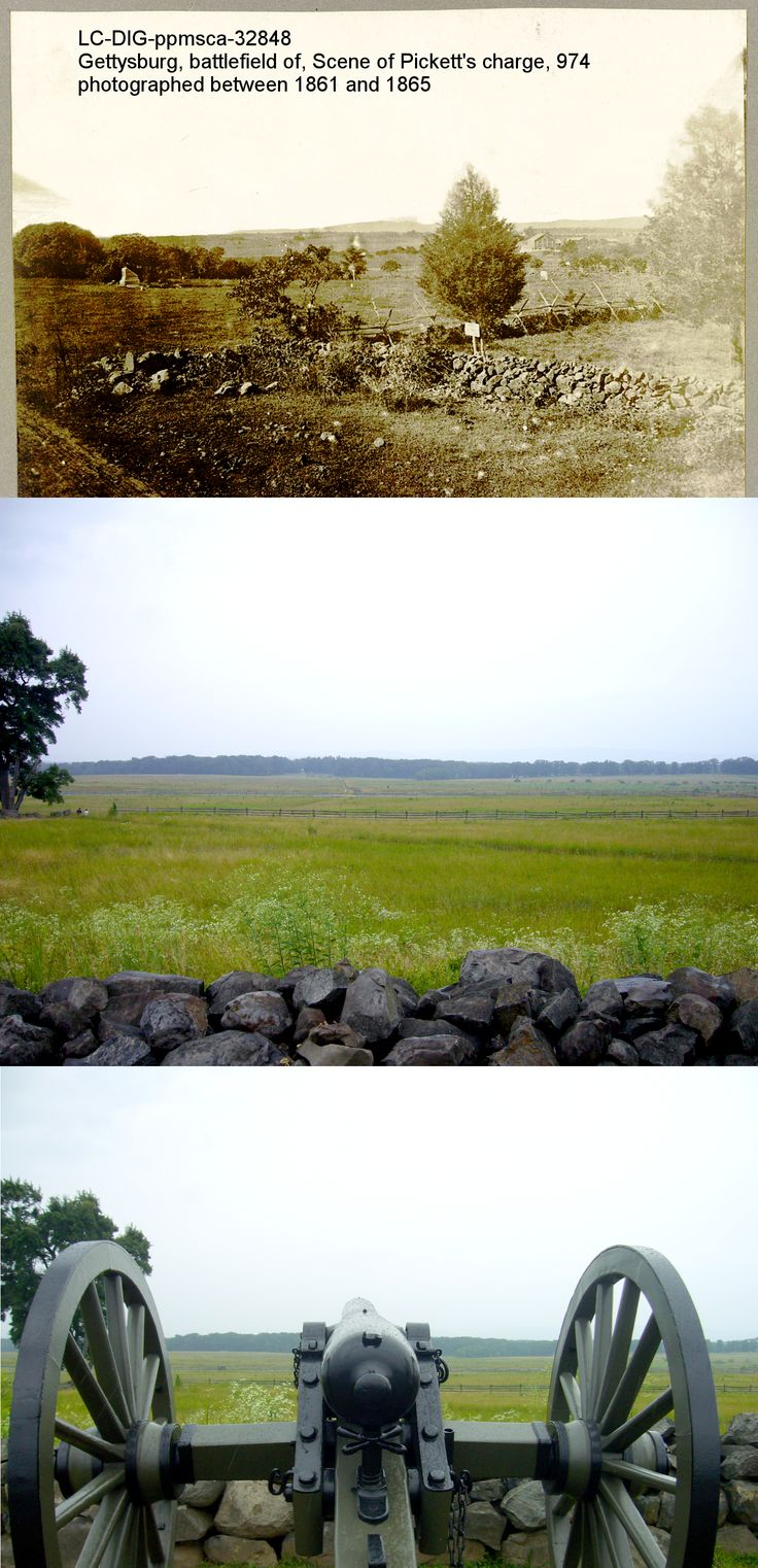 Then and Now: Pickett's charge at Gettysburg http://www.amazon.com/Soldiers-Friend-Civil-Cornelia-Hancock/dp/0982809301/ref=la_B003P9L25K_1_1?s=booksie=UTF8qid=1404396319sr=1-1