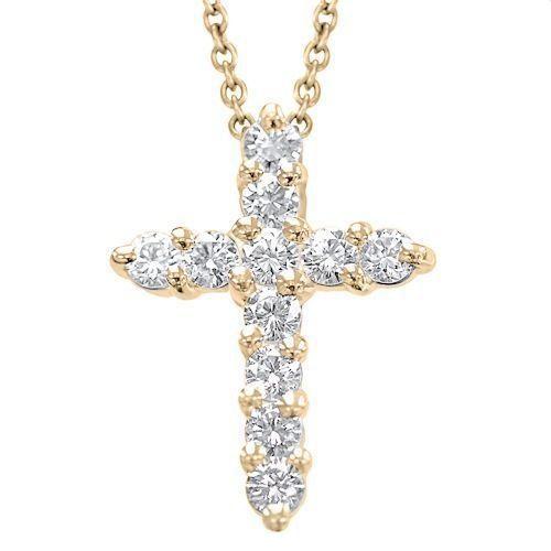 Diamant Anhänger Kreuz in 585er Rosegold - 1.00 Karat Diamanten - http://www.juwelierhausabt.de/products/de/Diamant-Anhaenger/Diamant-Anhaenger-Pave/Diamant-Anhaenger-Kreuz-in-585er-Rosegold-100-Karat-Diamanten.html