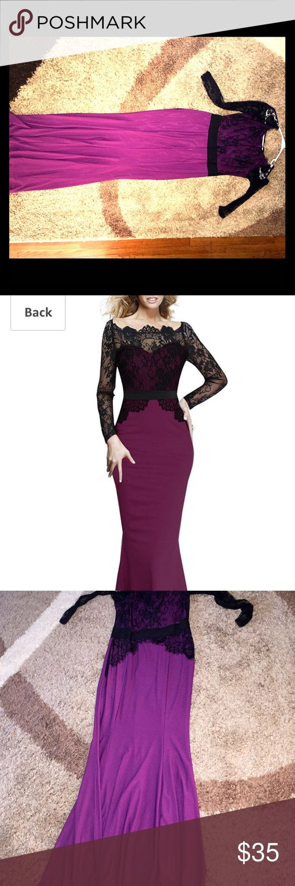 NWOT Gown lace and purple Top is form fitting.. bottom has some give. Lace long sleeve. Sexy.. gorgeous. Great for an autumn or winter wedding viwenni Dresses Maxi
