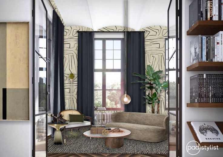 This grand living room design comprises bold wallpaper, statement lighting, organic shapes and geometric patterns. Yet it all comes together in a harmonious design.