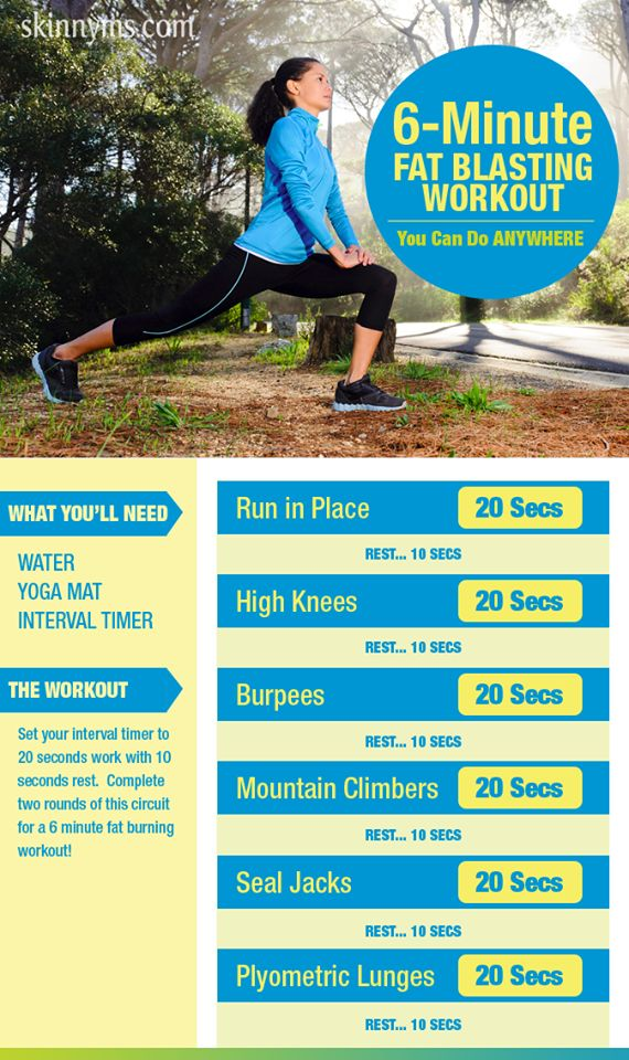 Workout anywhere with this 6 Minute Fat Blasting Workout! #workout #anywhere #fatblaster #skinnyms #weightloss