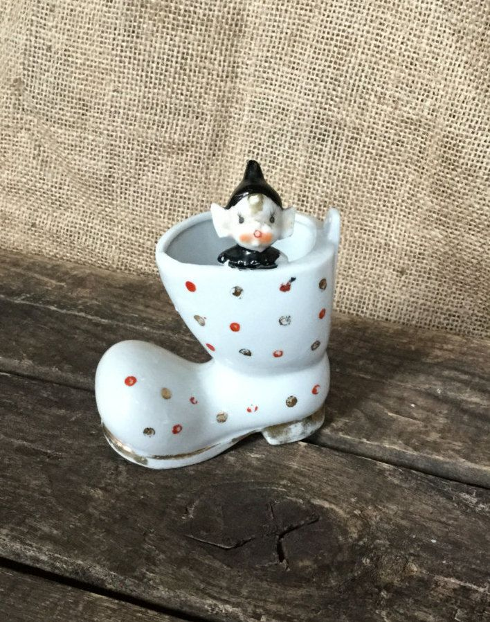 Vintage Pixie Elf Figurine, Ceramic Santa's Boot, Pixie Elf in Santa Boot, Christmas Decor, Midcentury Christmas Decor, Retro Christmas by PattisPickins on Etsy