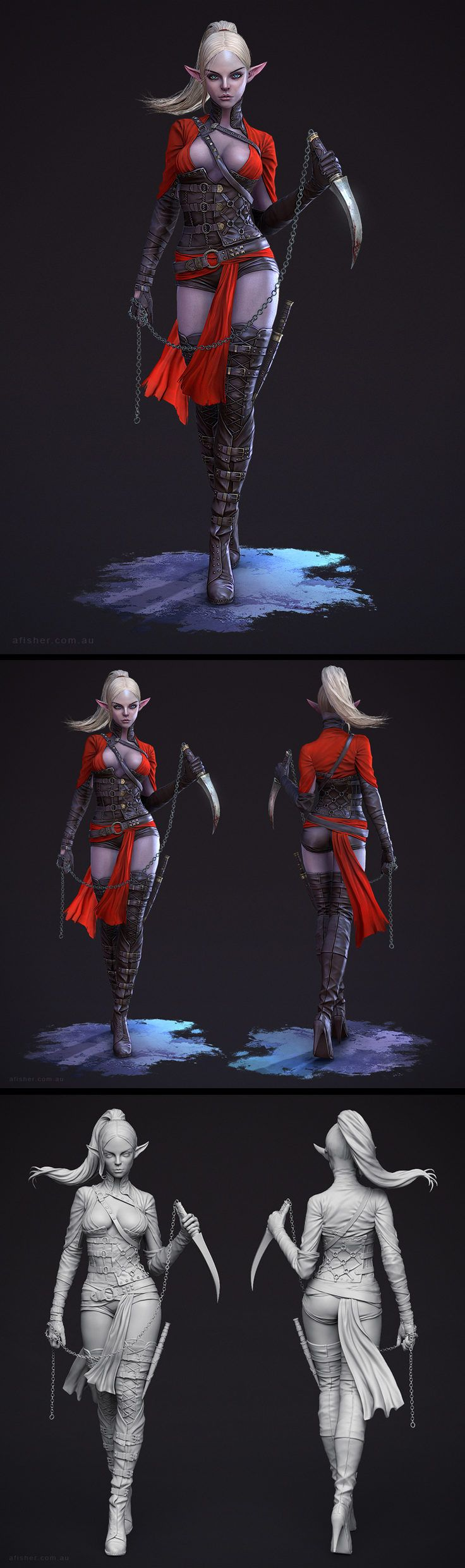 Dark Elf Assassin by afisher 774px X 2608px