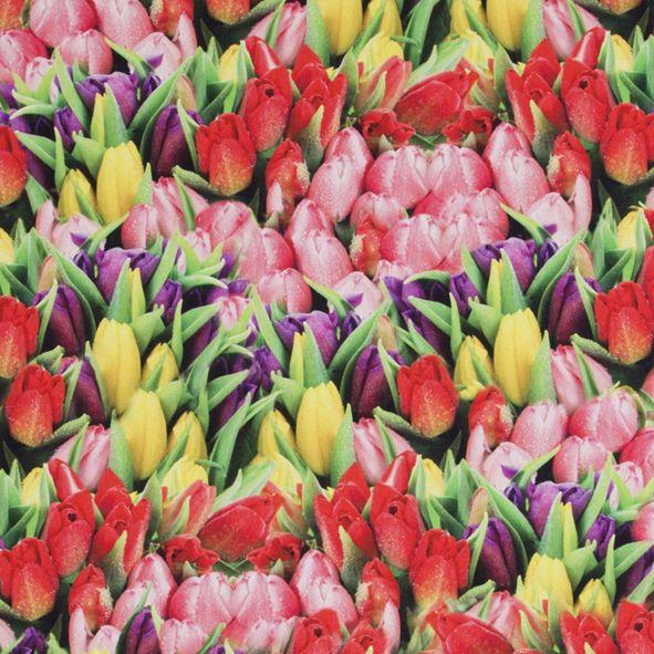 Bavlněná látka Tulipány De Luxe
