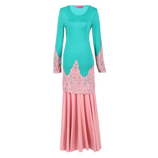 Kurung Lace Detail Printed Turquoise