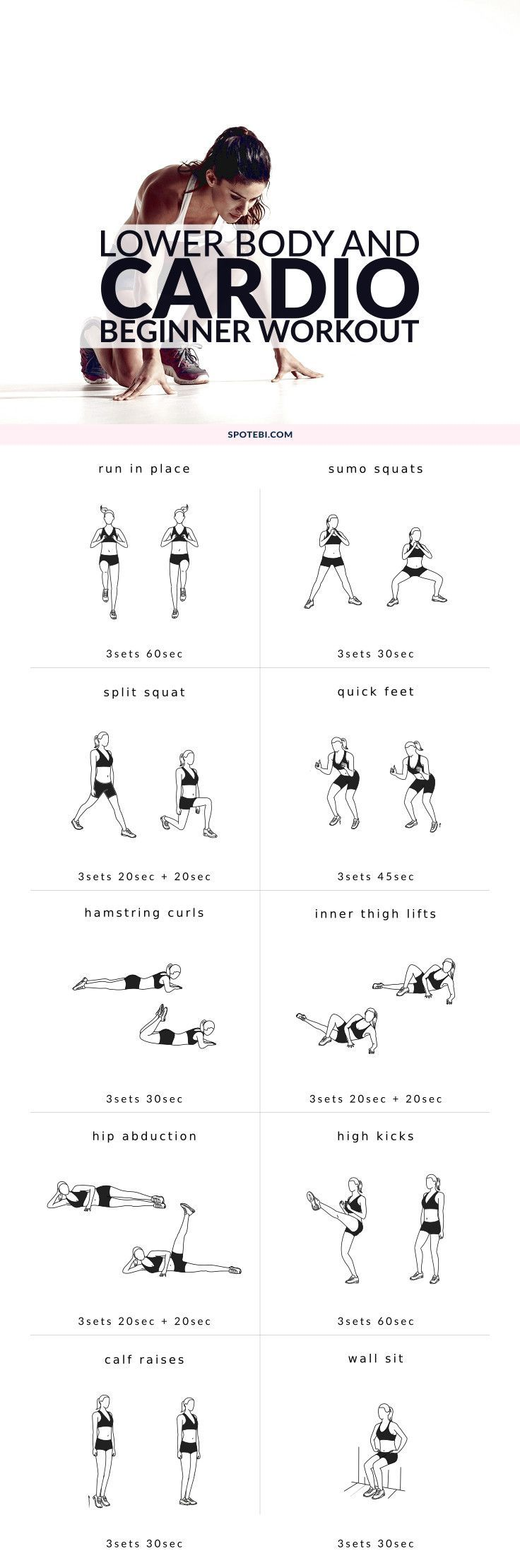 Start sculpting your lower body with this 20 minute beginner workout routine. A mix of cardio and strength training moves to burn off body fat and trim your inner and outer thighs, hips, quads, hamstrings, glutes and calves.