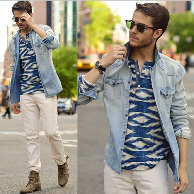 Men's Boho Clothing Boho print and denim men s