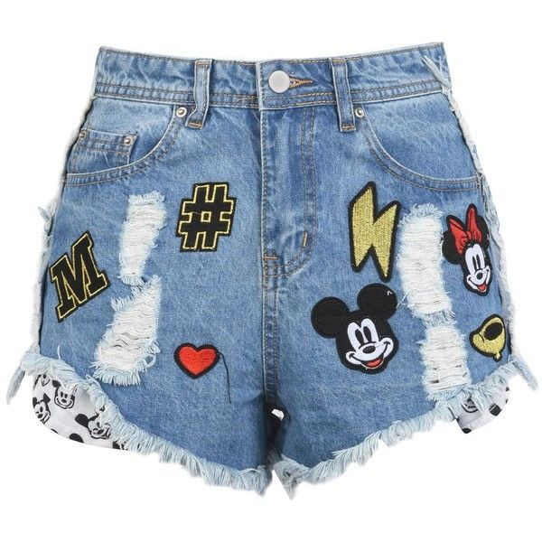 Disney Shorts ($54) ❤ liked on Polyvore featuring shorts, blue, disney shorts, zipper shorts and disney