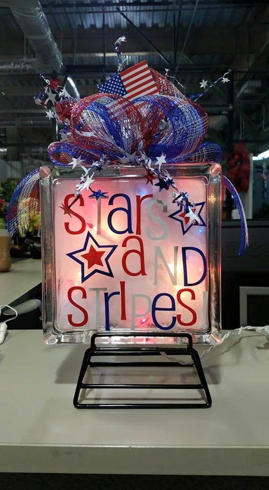 Embellished Glass Blocks Patriotic