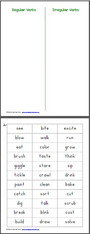 Past Tense: Regular Irregular Verb Sort printable