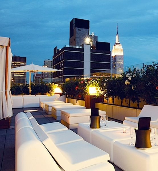 Sky Room calls itself New York City's highest rooftop lounge, occupying the 33rd and 34th floors of Marriott's Fairfield Inn & Suites. Enjoy views to Hudson River on one side and the Empire State Building on the other, while avoiding the hustle and bustle of Times Square below.