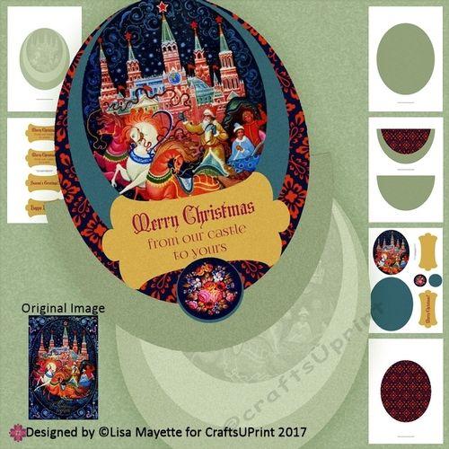 Vintage Russian Christmas Castle Wobble Card Making Kit by Lisa Mayette A rocker card featuring a vintage Russian greeting card that…