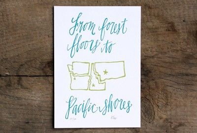 Northwest States Letterpress PrintGift Guide, Letterpresses Prints, Northwest States, Gift Ideas, States Letterpresses